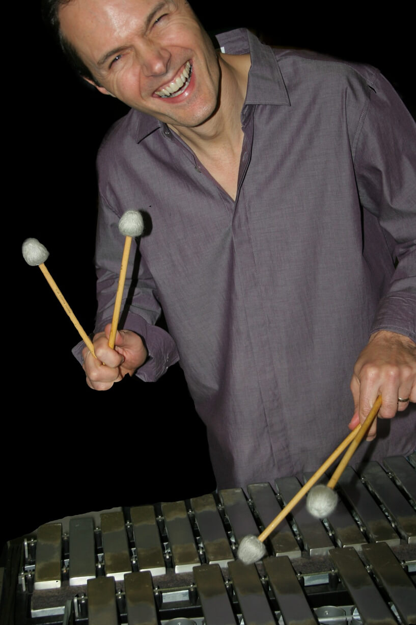 Paul Babelay, owner Vibe Guy Music, playing the vibraphone